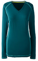 Lands' End Women's Active Long Sleeve V-neck T-shirt-Bright Eggplant Diamonds