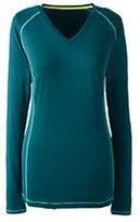 Lands' End Women's Petite Active Long Sleeve V-neck T-shirt-Emerald Jewel