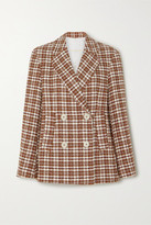 Remain Birger Christensen REMAIN Birger Christensen - Debbie Double-breasted Checked Cotton-blend Tweed Blazer - Brown