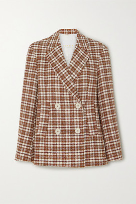 REMAIN Birger Christensen Debbie Double-breasted Checked Cotton-blend Tweed Blazer - Brown