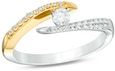 Zales 1/3 CT. T.W. Diamond Open Bypass Ring in 10K Two-Tone Gold