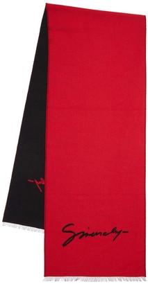 Givenchy Double Logo Intarsia Wool & Silk Scarf