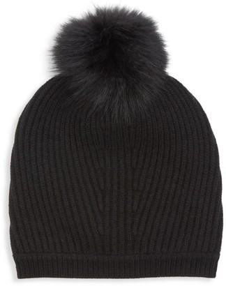 Max Mara Nostoc Fox Fur Pom Pom Wool Cashmere Hat