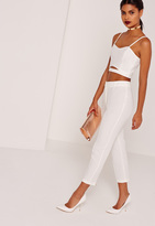 Missguided Cropped Cigarette Trouser With Zip Back Detail White