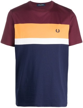 Fred Perry embroidered logo colour-block T-shirt