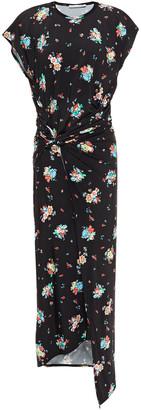 Paco Rabanne Draped Floral-print Stretch-jersey Midi Dress