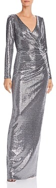 Aqua Faux-Wrap Sequin Gown - 100% Exclusive