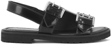 Opening Ceremony Women's Mirror Leather Double Strap Sandals Black