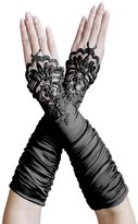 ZaZa Bridal Gathered Satin Fingerless Gloves w/ Floral Embroidery Lace & Sequins