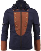 GSHappyGo Men's Big & Tall Lightweight Stand Collar Jacket with Removable Hood XL