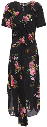 Preen Line Shae Asymmetric Ruched Floral-print Crepe De Chine Midi Dress