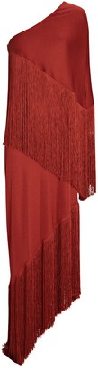 Cult Gaia Zenith Fringed One-Shoulder Gown