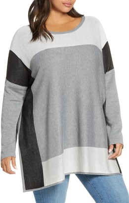 Single Thread Colorblock Tunic Sweater