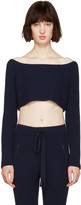 Baja East Navy Cashmere Off-the-shoulder Sweater