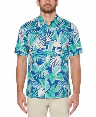 Cubavera Big & Tall Bold Tropical Leaf Pattern Shirt