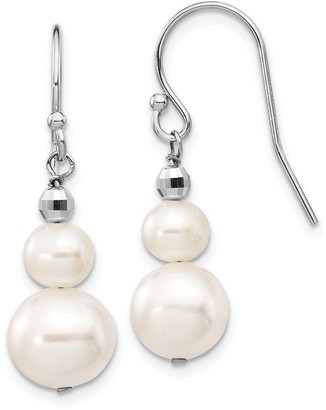 14 Karat White Gold 8-9mm Freshwater Cultured Pearl with Mirror Bead Earrings by Versil