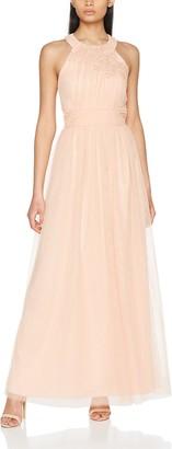 Little Mistress Women's Sherbet Open Back Maxi Dress with Floral Applique Party