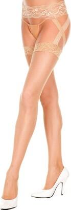 MUSIC LEGS Women's Criss Cross Lace Fishnet Garter Belt Stockings