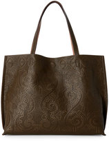 Street Level Olive & Taupe Calligraphy Reversible Tote