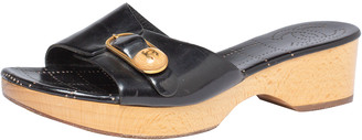 Chanel Black Patent Leather CC Buckle Detail Wooden Clog Slides Size 40