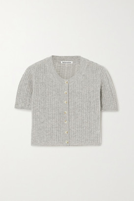 Reformation Germaine Pointelle-knit Cashmere Cardigan - Gray