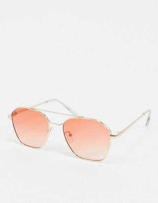 Jeepers Peepers square sunglasses with pink lens