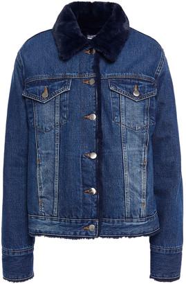 Frame Faux Fur-trimmed Denim Jacket