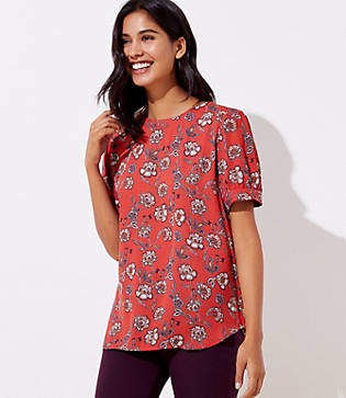 LOFT Petite Garden Puff Sleeve Button Back Top