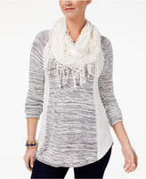 Style&Co. Style & Co Removable-Scarf Sweater, Created for Macy's