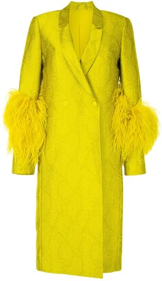 Sally LaPointe Feather-Trimmed Snakeskin Print Coat
