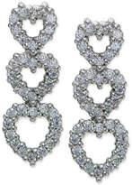 Giani Bernini Cubic Zirconia Triple Heart Drop Earrings in Sterling Silver, Only at Macy's