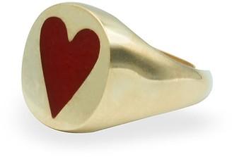 Smilla Brav Love Cocktail Ring Vermeil Enamelled Red Heart