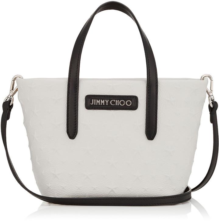 Jimmy Choo MINISARA Chalk Embossed Stars on Grainy Leather Mini Tote Bag