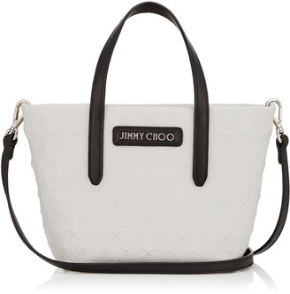Jimmy Choo MINISARA Chalk Embossed Stars on Grainy Leather Mini Tote Bag