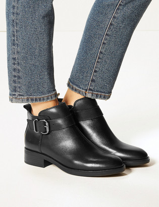 Marks and Spencer Leather Buckle Detail Ankle Boots