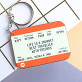 Of Life & Lemons Personalised Train Ticket Friendship Keyring