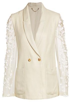 Rachel Comey Perth Embellished Sheer Sleeve Blazer