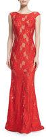Jovani Cap-Sleeve Lace Column Gown