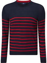 Gant Breton Stripe Jumper, Clear Red