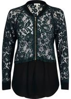 River Island Womens Green lace woven hem bomber jacket