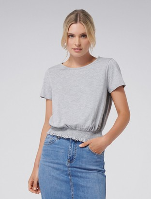 Forever New Andee Shirred Hem Jersey Tee - Grey - xs