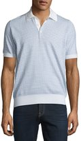 Brioni Short-Sleeve Check Pullover, White Solid