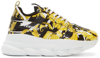 Versace Yellow and Black Barocco Chain Reaction Sneakers