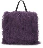House of Holland Women's Mongolian Fur Tote Purple