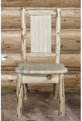 Loon Peak Tustin Solid Wood Dining Chair Color: Clear Lacquer
