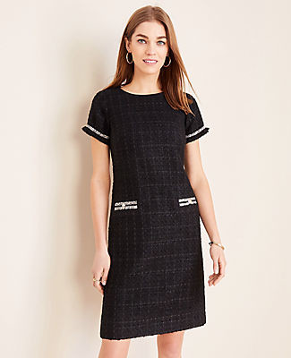 Ann Taylor Petite Tweed Button Trim Shift Dress