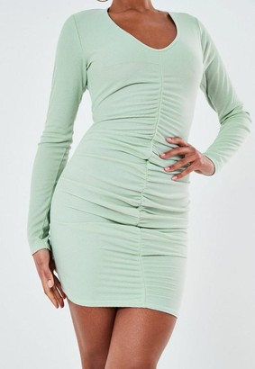 Missguided Green Rib V Neck Ruched Long Sleeve Mini Dress