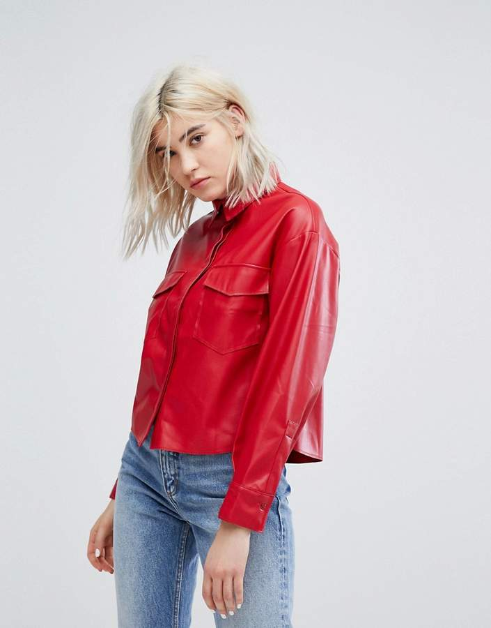 Bershka Double Pocket Shirt With Covered Placket