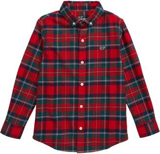 Vineyard Vines Merry Plaid Whale Button-Up Flannel Shirt