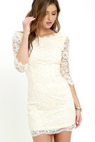 LuLu*s Make an Impression Cream Lace Dress